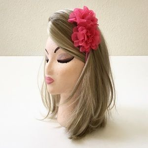 Accessories - Juniors/Ladies Pink Sheer Mesh Floral Headband NEW